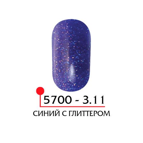 Цветная акриловая пудра - синий с глиттером