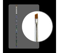 Кисть прямая для китайской росписи с цветной ручкой скошенная № 4