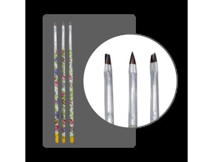 Набор кистей для дизайна с росписными ручками (3 шт.)
