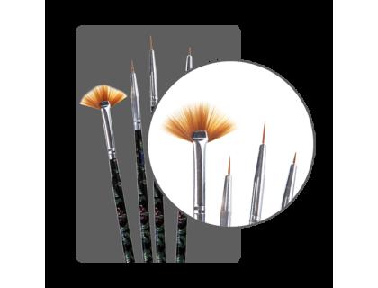 Набор кистей для дизайна с росписными ручками (4 шт.)