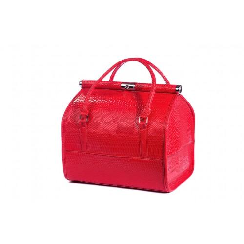 Сумка - саквояж мастера для инструментов кожзам/крокодил, цвет красный 25х25х32 см.