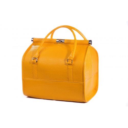 Сумка - саквояж мастера для инструментов кожзам/крокодил, цвет жёлтый 25х25х32 см.