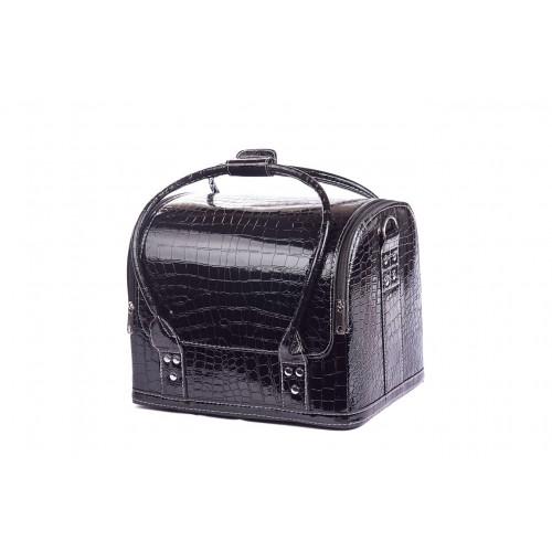 Сумка - чемодан для мастера кожзам/крокодил, цвет чёрный 30х25х25 см