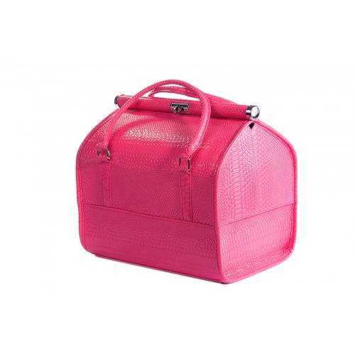Сумка - саквояж мастера для инструментов кожзам/крокодил, цвет розовый 25х25х32 см.