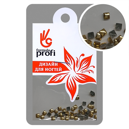 Клёпки металлические Квадратик 2*2 мм, цвет золото