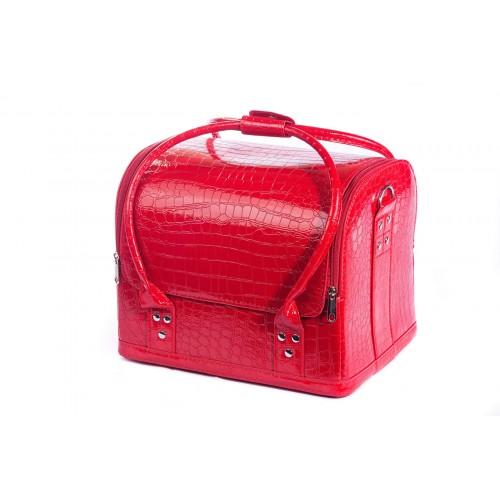 Сумка - чемодан для мастера кожзам\крокодил, цвет красный 30х25х25 см
