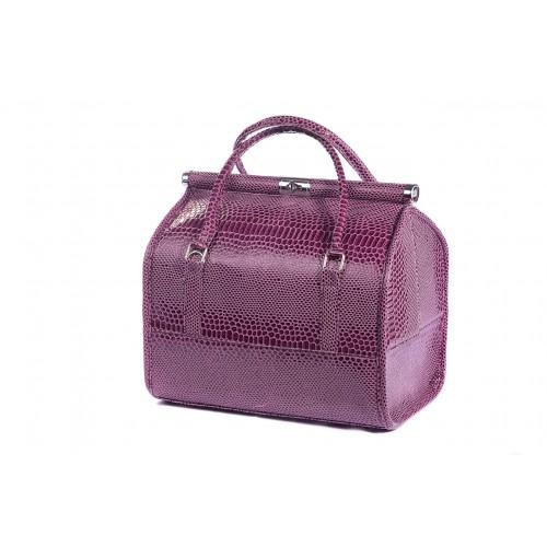 Сумка - саквояж мастера для инструментов кожзам/крокодил, цвет фиолетовый 25х25х32 см.