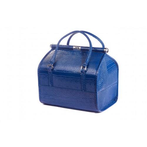 Сумка - саквояж мастера для инструментов кожзам/крокодил, цвет синий 25х25х32 см.